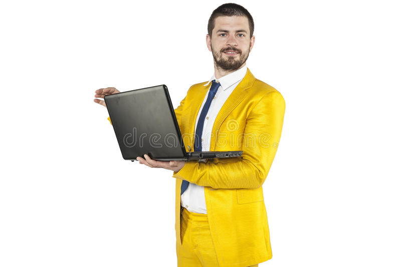 Businessman in a gold suit is a leader in your company. Business man in a gold suit is a leader in your company royalty free stock photos