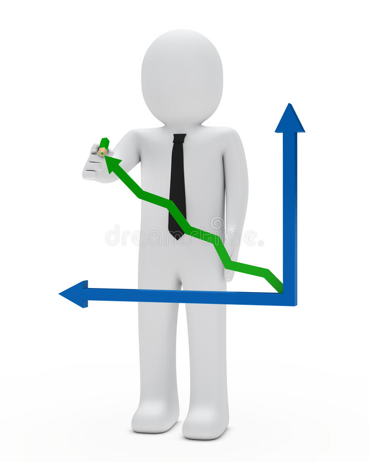 Businessman graph stock illustration