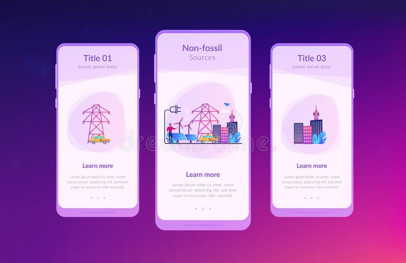 Alternative fuel app interface template. Businessman in green city and electric car using alternative fuel. Alternative fuels, chemically stored electricity royalty free illustration