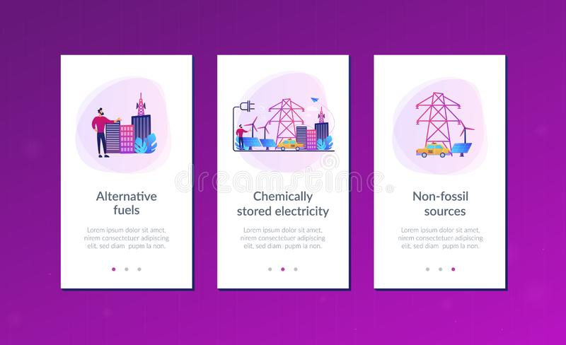 Alternative fuel app interface template. Businessman in green city and electric car using alternative fuel. Alternative fuels, chemically stored electricity stock illustration