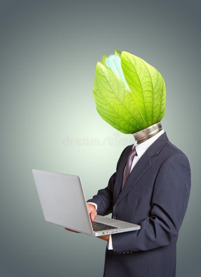 Businessman , Green light bulb head royalty free stock photos