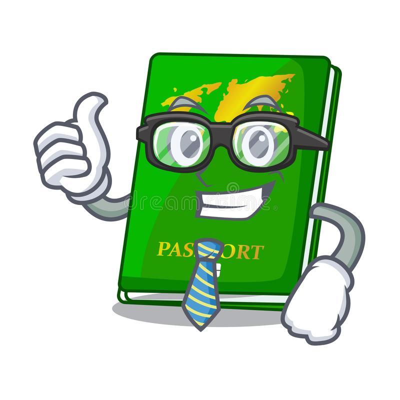 Businessman green passport in the cartoon shape. Vector illustration royalty free illustration