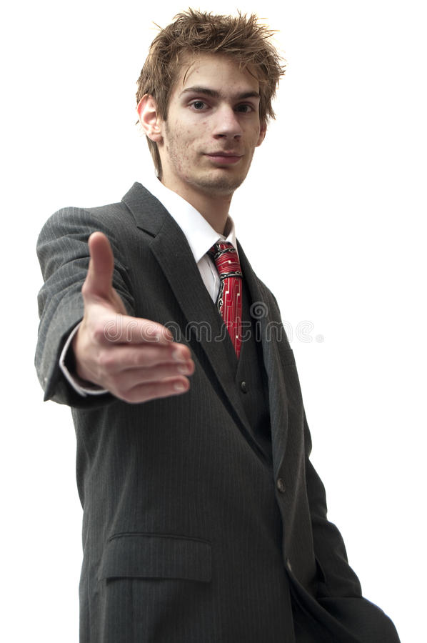 Download Businessman Greets A Smile And Handshake Stock Image - Image: 12257861