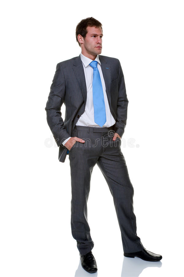 Businessman grey pinstripe suit isolated. A businessman wearing a grey pinstripe suit and blue tie, isolated on a white background royalty free stock photos