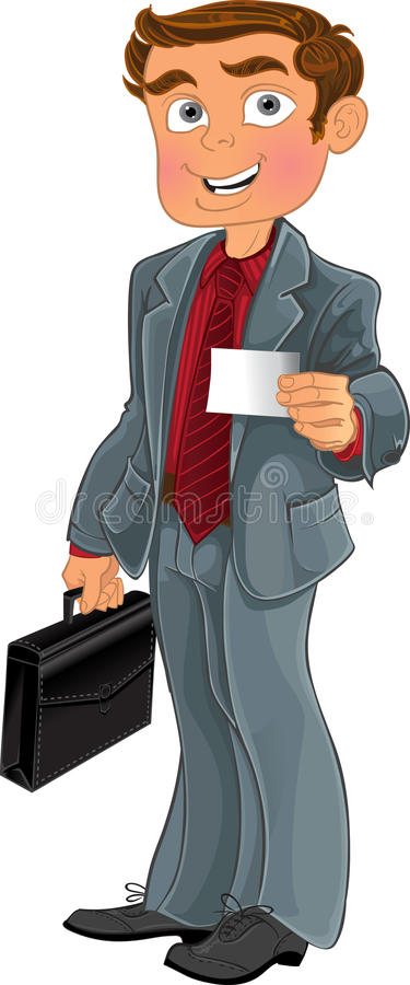 Businessman in grey suit with white business card royalty free stock photography