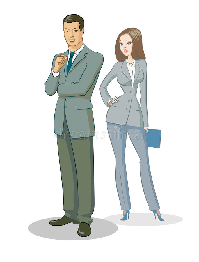 Businessman group standing. Vector illustration isolated on a white background royalty free illustration