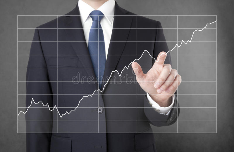 Businessman with growing chart royalty free stock photos