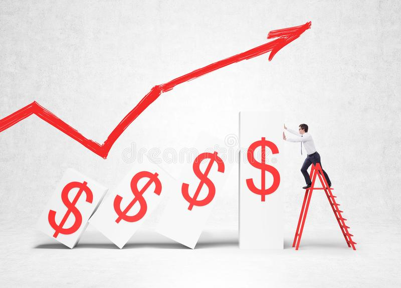 Businessman and growing dollar graph royalty free stock images