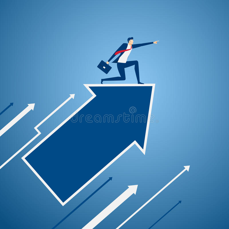 Businessman on growth arrow graph pointing finger and looking for success, opportunities, future business trends. Vision concept. vector illustration