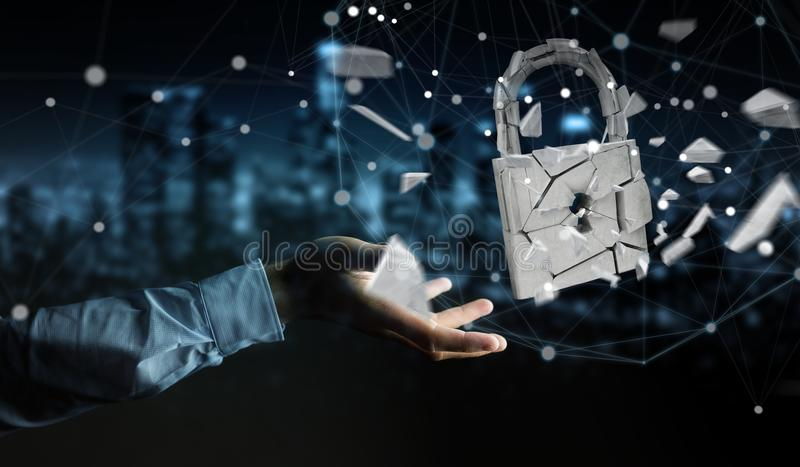 Businessman hacking in broken padlock security 3D rendering royalty free illustration