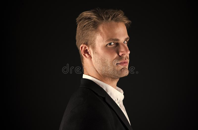 Businessman hair groomed face. Stylish and modern appearance. Well groomed macho. Perfect style. Hair grooming tips. Business man well groomed guy dark royalty free stock images