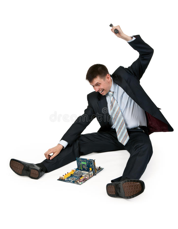 Download Businessman with a hammer stock image. Image of contamination - 20142993