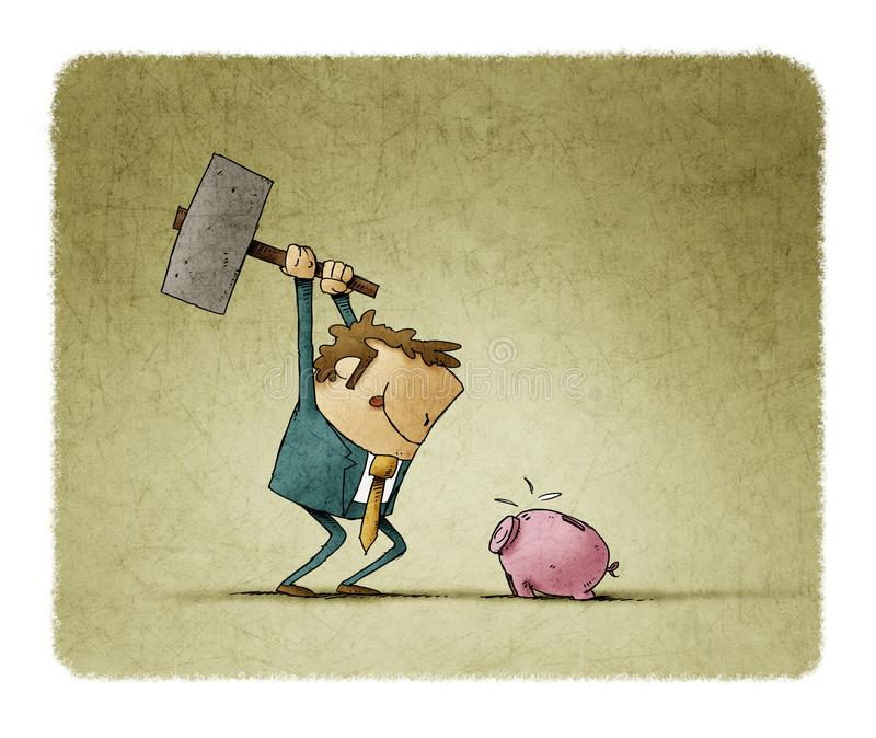 Man with a hammer is going to break a piggy bank royalty free illustration