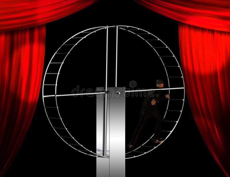 Businessman on hamster wheel. On stage vector illustration