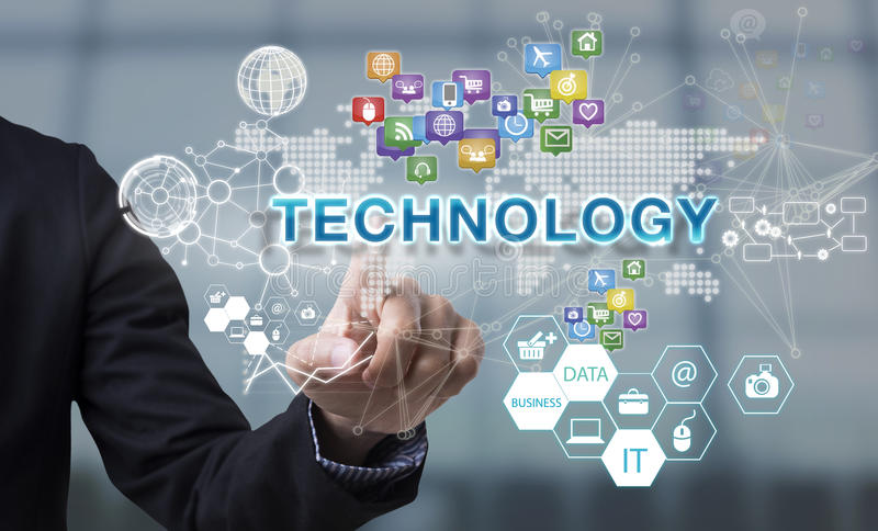 Businessman hand chooses Technology wording on interface screen. Internet technology service concept. can used for cover page presentation and web banner stock photography