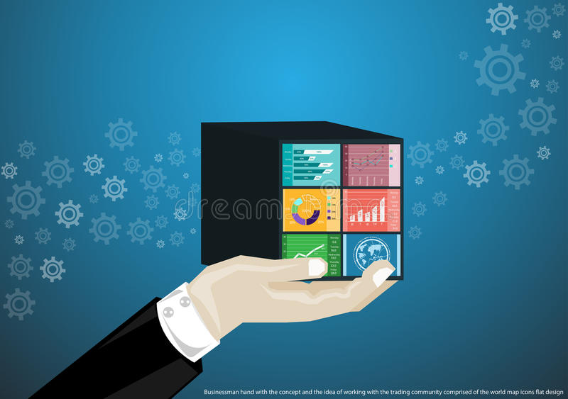 Businessman hand with the concept and the idea of working with the trading community comprised of the world map, flat design icons. Businessman hand with the vector illustration