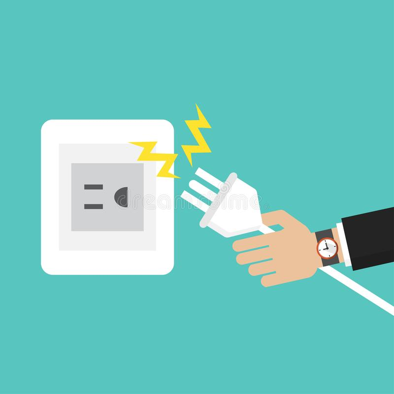 Businessman hand connecting electric plug with electricity spark icon vector illustration in flat style royalty free illustration