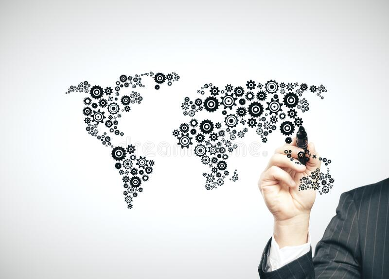 Businessman hand drawing cogs in form world map stock photos