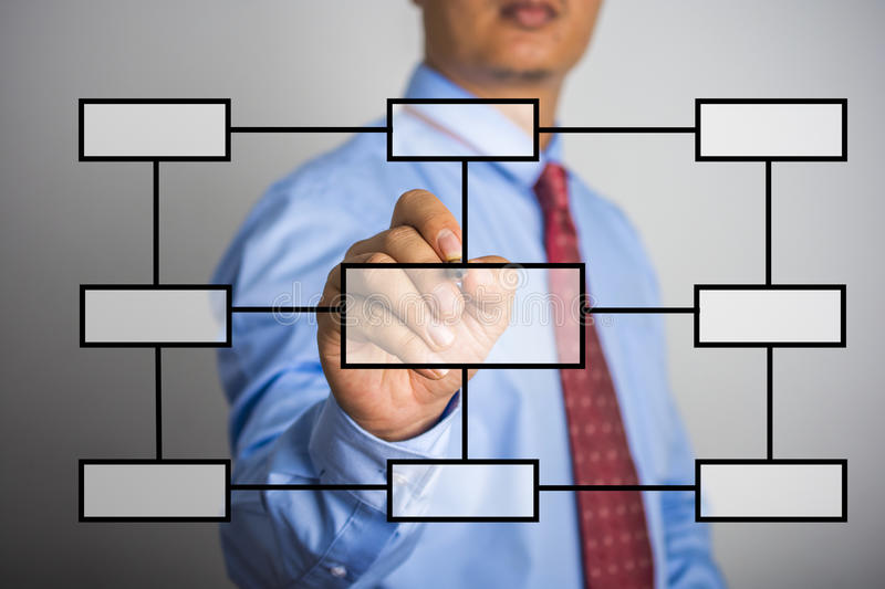 Businessman hand drawing flowchart in a whiteboard.  stock image