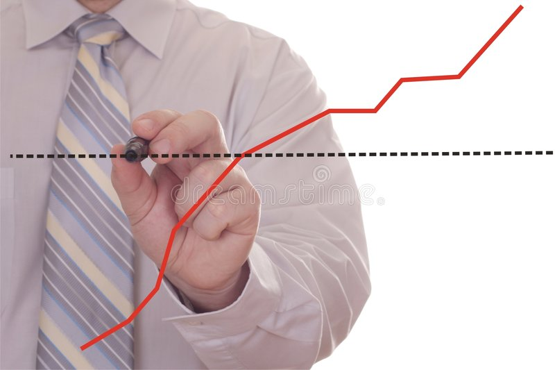 Businessman hand drawing graph stock photography
