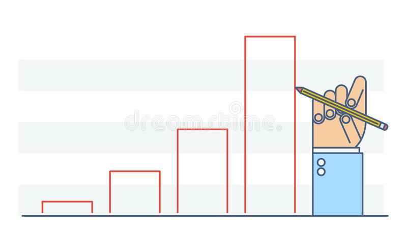 Businessman hand drawing growth chart to improve business. royalty free illustration
