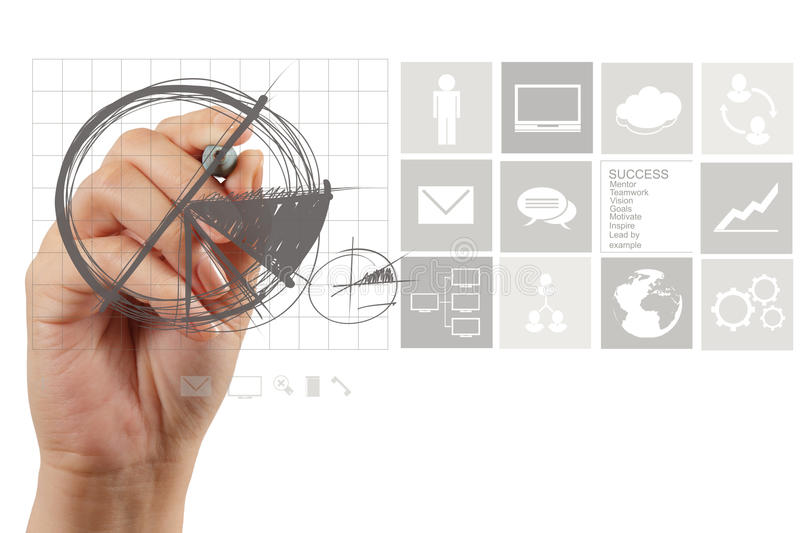 Businessman hand drawing pie chart and business strategy. As concept stock image