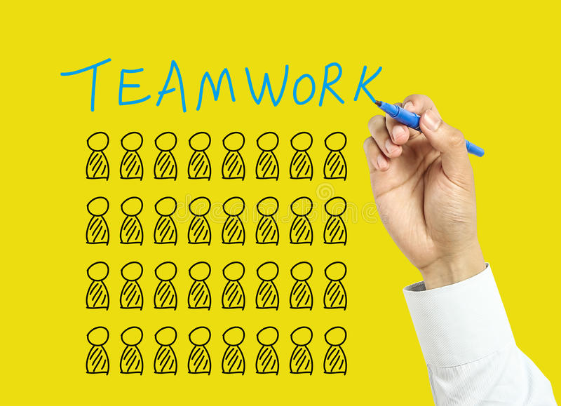 Businessman hand drawing Teamwork concept royalty free stock photography