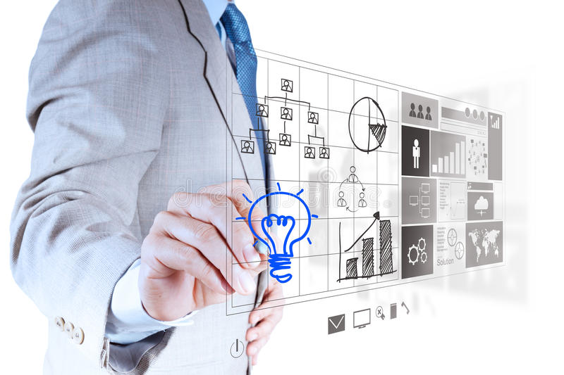 Businessman hand draws lightbulb with new computer. Interface as solution business concept stock photography