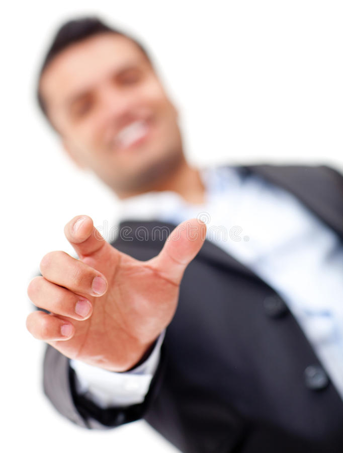 Businessman with hand extended