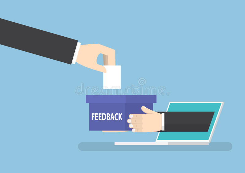 Businessman hand with feedback box sticking out from laptop vector illustration