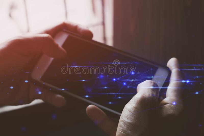 Businessman hand finger touch on screen smartphone device for connecting to social network bandwidth internet digital big data saf. Ety security cloud storage ai stock images