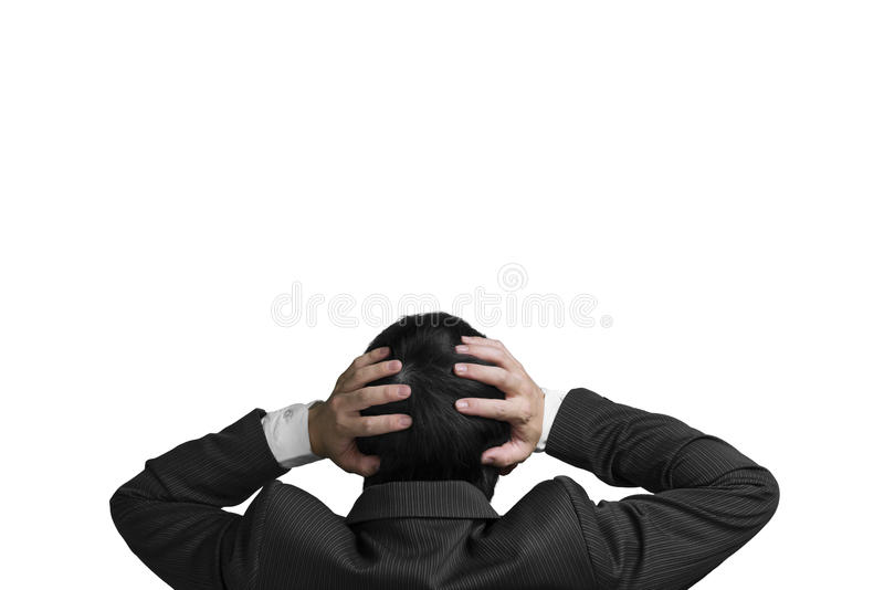Businessman with 2 hand hold head with chagrin expression isolated in white royalty free stock photo