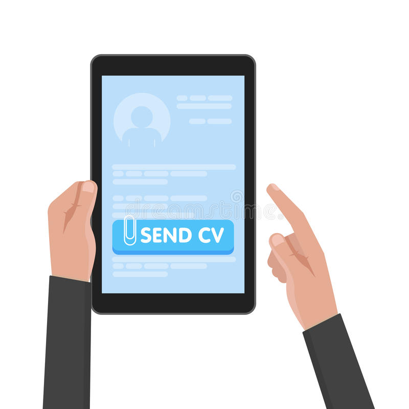 Businessman hand hold tablet computer with resume template. Send cv buttons. Work and job search concept vector stock illustration