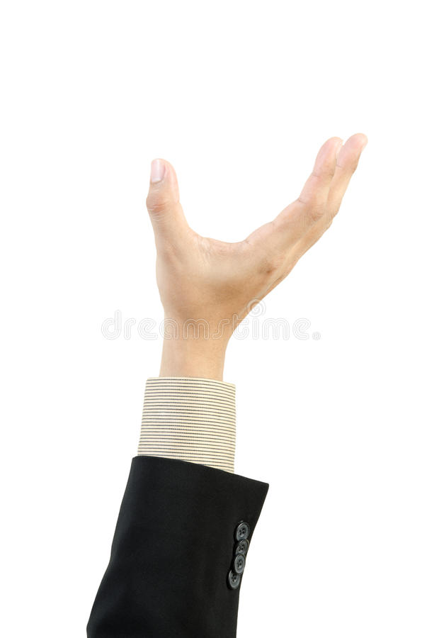 Businessman hand holding blank. On white background royalty free stock photography