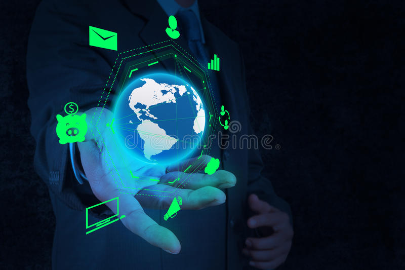 Businessman hand holding business diagram royalty free stock images