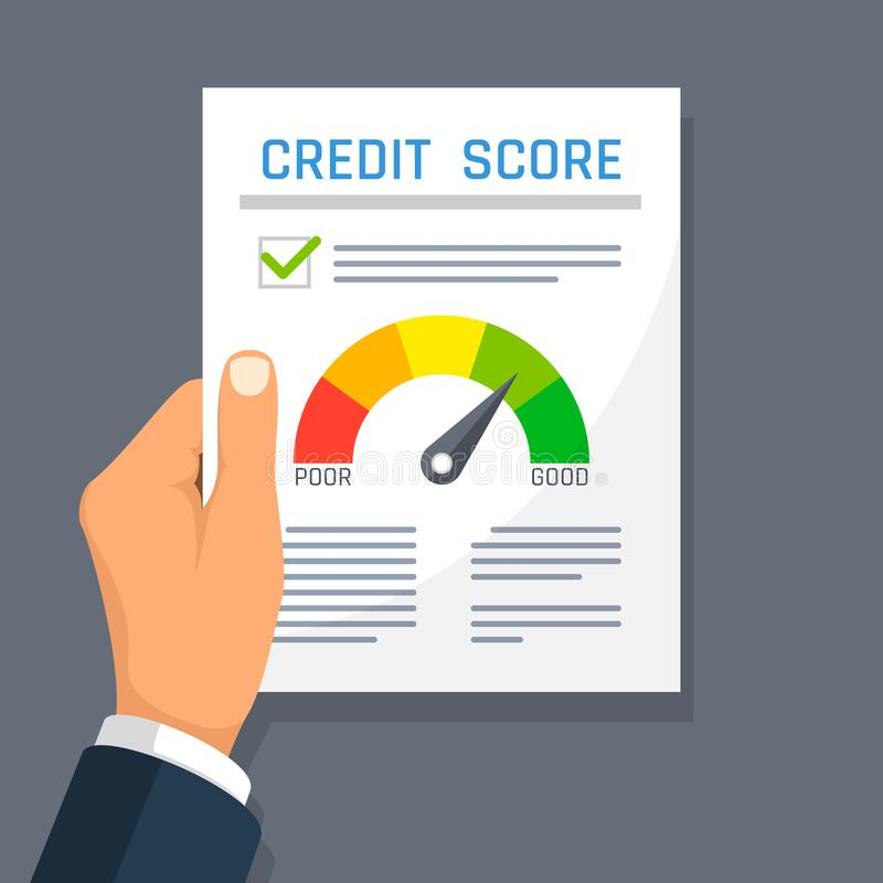 Businessman hand holding credit history finance document with score indicator. Mortgage approval vector concept stock illustration