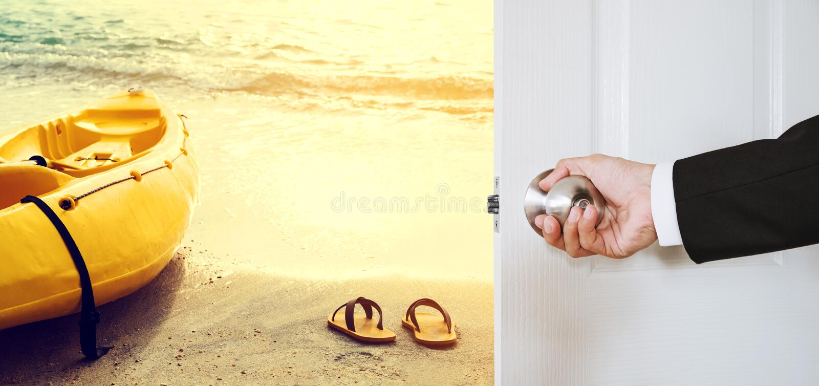 Businessman hand holding door knob, opening to the beach with yellow kayak and flip flop, vintage tone, business summer vacation stock photo