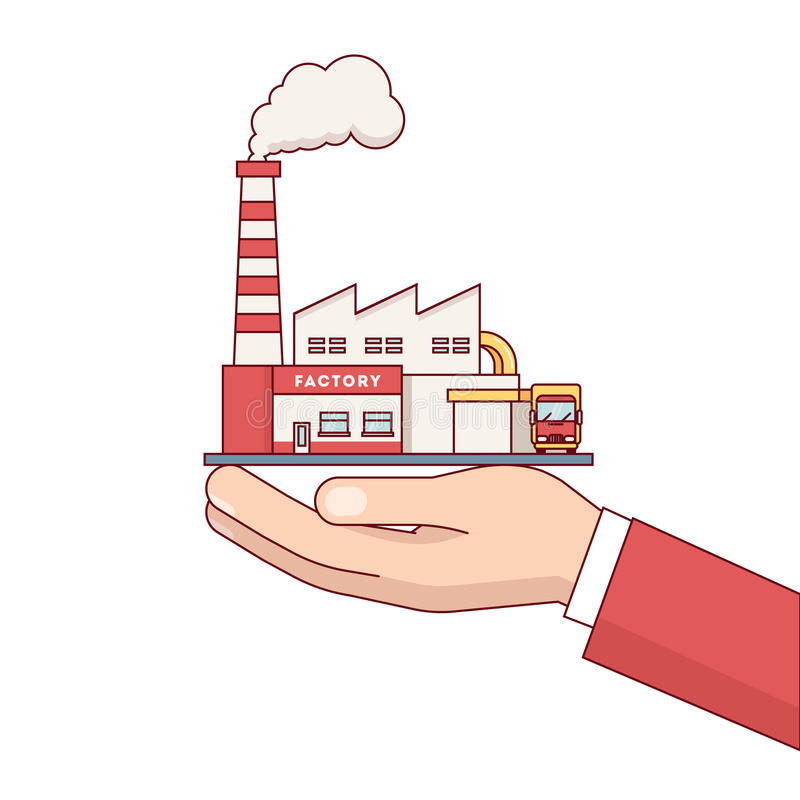 Businessman hand holding factory building for sale. Business man hand holding factory building for sale. Electrical power production plant with steam pipes royalty free illustration