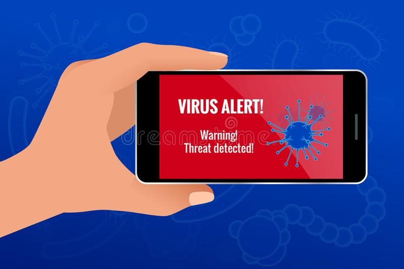Businessman hand holding a generated touch phone with virus alert on the screen concept. Hacking smartphone user stock illustration