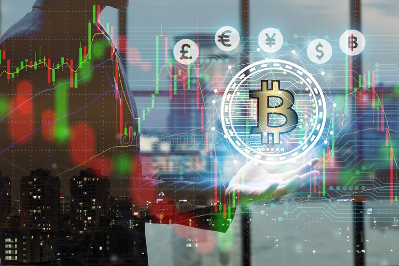 Businessman hand holding global network using Currencies sign symbol interface of Bitcoin Fintech, virtual currency blockchain te. Chnology concept, Investment royalty free stock images