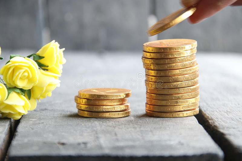 Businessman hand holding gold coins and nice flowers. Hand putting stack of gold coins, vintage style stock image