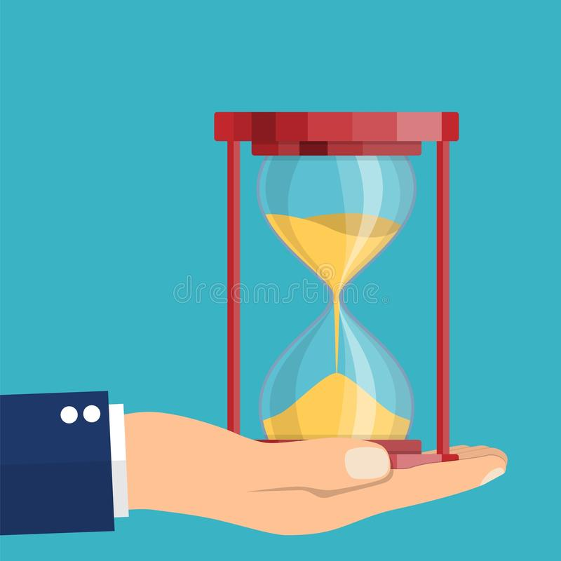Business hand holding a hourglass vector illustration