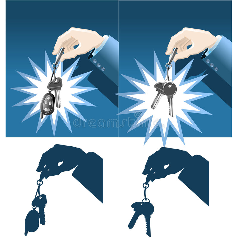Businessman hand holding keys stock illustration