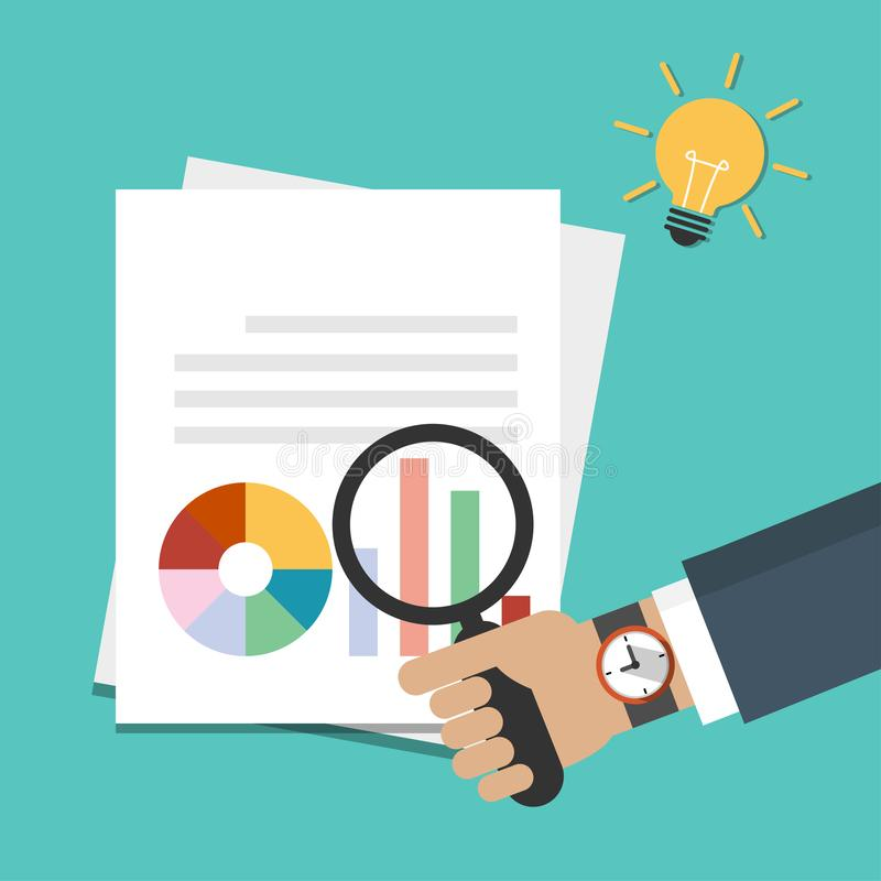 Businessman hand holding magnifying glass over document with graph, reports icon. Data analysis, idea concept with light bulb vector illustration