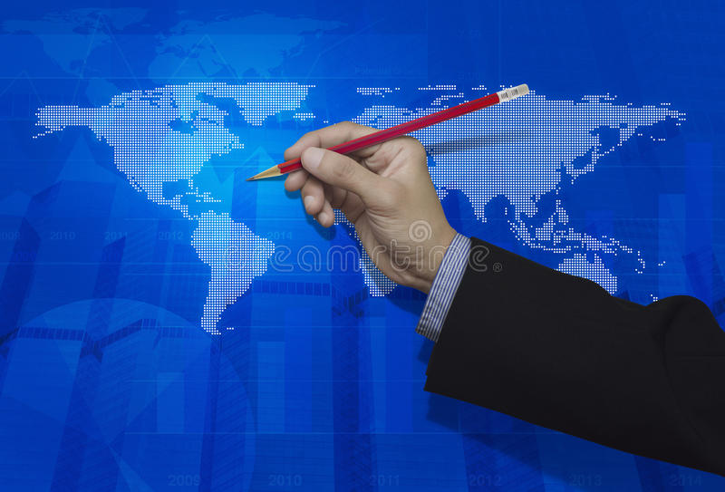 Businessman hand holding a pencil over blue digital world map ba. Ckground, Elements of this image furnished by NASA stock photography