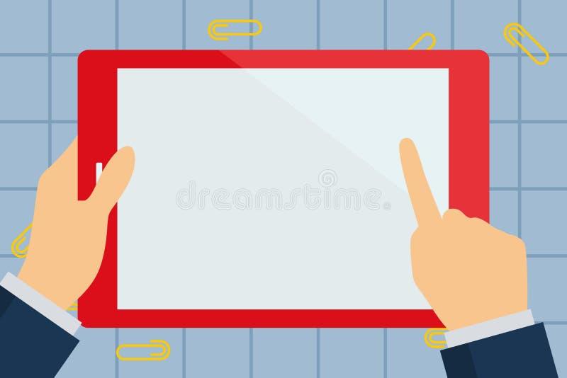 Businessman Hand Touching Modern Graph Touch Screen Stock