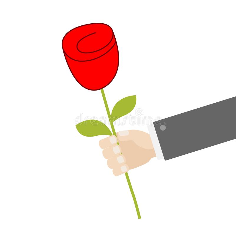 Businessman hand holding red rose flower. Giving gift concept. Cute cartoon character. Black suit. Happy Valentines Day. Greeting. Card. Flat design. White royalty free illustration
