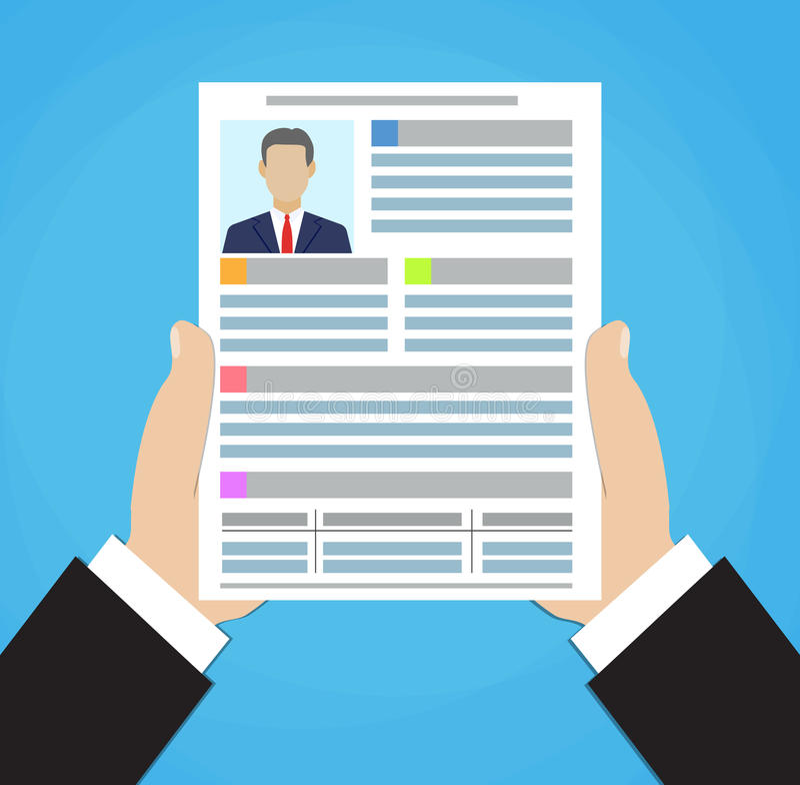 businessman hand holding resume document   stock image