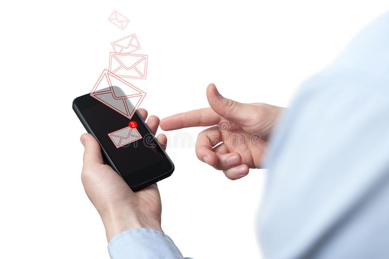Businessman hand holding smart phone with icon mobile phone, mail, telephone and address. Man`s Hand holding a smartphone. A new. Message received on mobile royalty free stock image