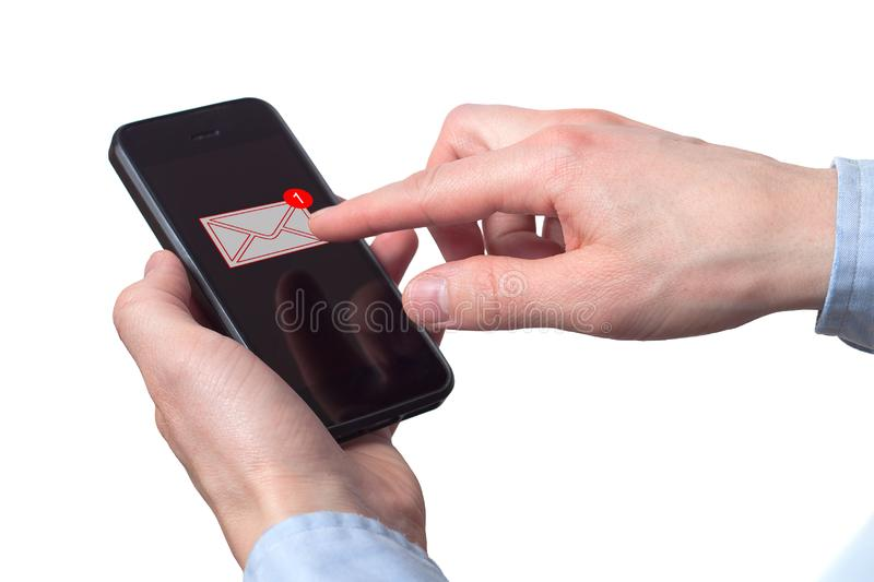 Businessman hand holding smart phone with icon mobile phone, mail, telephone and address. Man`s Hand holding a smartphone. A new. Message received on mobile stock photography